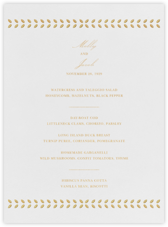 Kayitz I (Menu) - Gold - Paperless Post - Wedding menus and programs - available in paper