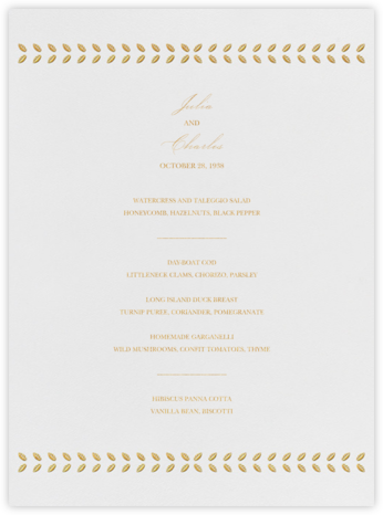 Lamina I (Menu) - Gold - Paperless Post - Wedding menus and programs - available in paper