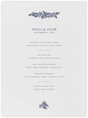 Nitzan I (Menu) - Navy - Paperless Post -