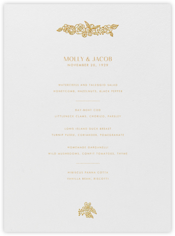 Nitzan I (Menu) - Gold - Paperless Post - Wedding menus and programs - available in paper