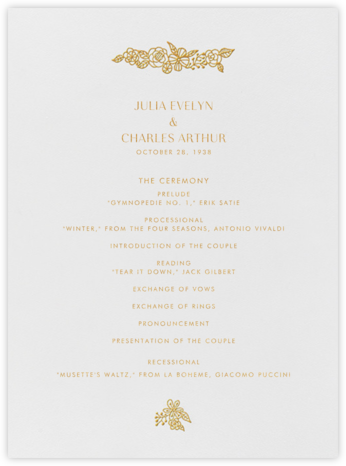 Thérèse I (Program) - Gold - Paperless Post - Wedding menus and programs - available in paper