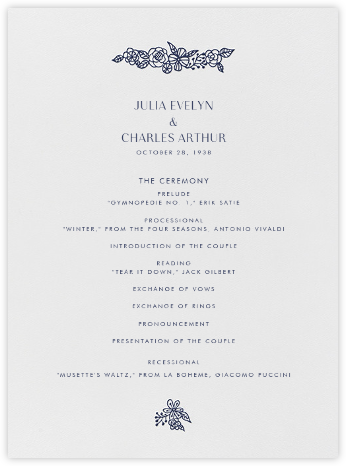 Thérèse I (Program) - Navy - Paperless Post - Wedding menus and programs - available in paper