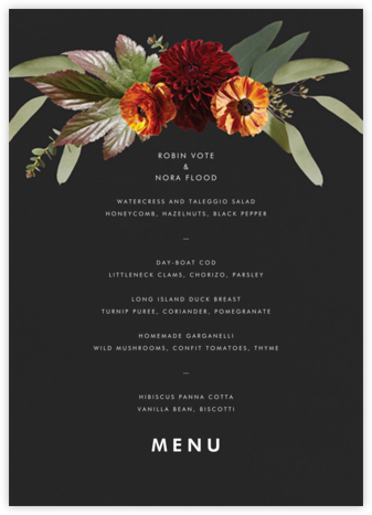Leiden (Menu) - Black - Paperless Post - Wedding menus and programs - available in paper
