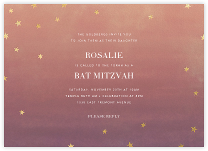 L'Heure Bleue - Gold - Paperless Post - Bat and Bar Mitzvah Invitations