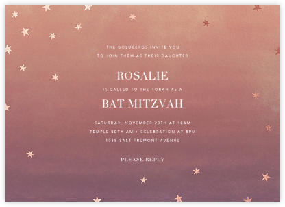 L'Heure Bleue - Rose Gold - Paperless Post - Bat and Bar Mitzvah Invitations