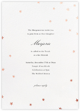 Nightly (Tall) - White/Rose Gold - Paperless Post - Bar and Bat Mitzvah Invitations