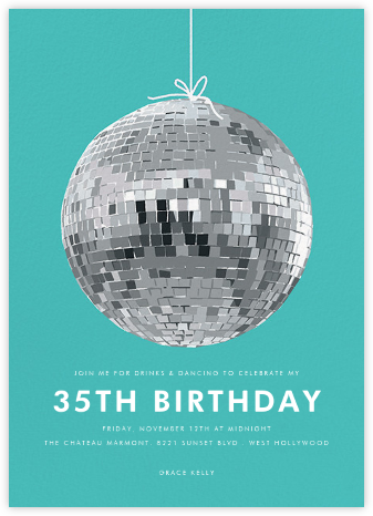 Disco Ball - Hannah Berman - Milestone birthday invitations
