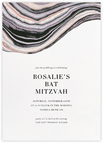 Marbleized (Vertical Invitation) - Kelly Wearstler - Bat and Bar Mitzvah Invitations