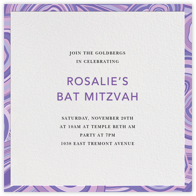 Malachite (Invitation) - Purple - Jonathan Adler - Bar and Bat Mitzvah Invitations