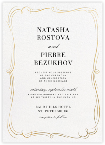 Plume (Tall) - White/Gold - Paperless Post - Wedding Invitations
