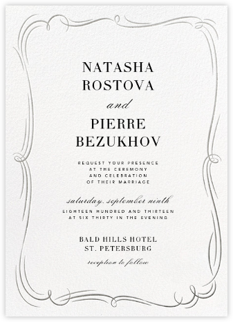 Plume (Tall) - White/Silver - Paperless Post - Wedding Invitations