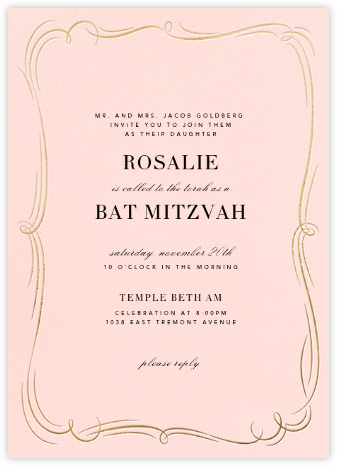 Plume (Tall) - Meringue/Gold - Paperless Post - Bat and Bar Mitzvah Invitations