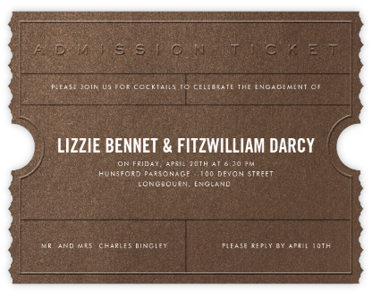 Golden Ticket (Bronze) - Paperless Post - Engagement party invitations