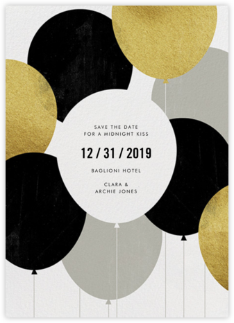 Party Balloons - Gold - Paperless Post - New Year's Eve Invitations