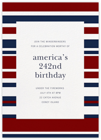 Patriotic Stripes - Navy/Crimson - Paperless Post -