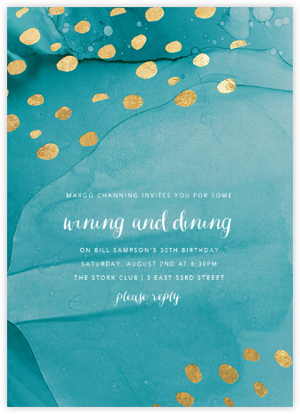 Bright Spots - Teal - Ashley G - Adult birthday invitations