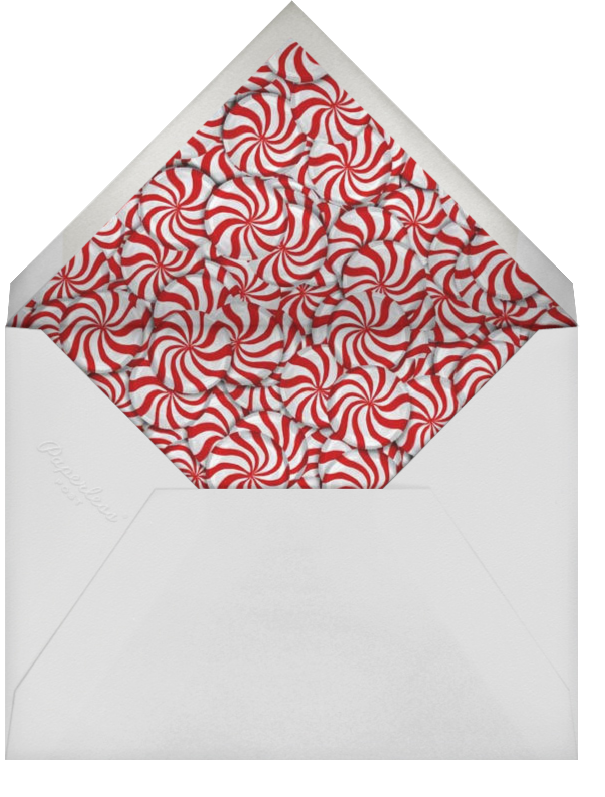 Peppermints on Ivory - Paperless Post - Holiday save the dates - envelope back