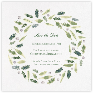 Beacon Hill Wreath - Paperless Post - Holiday Save the Dates