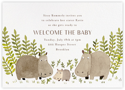 Happy Hippos - Paperless Post - Baby Shower Invitations