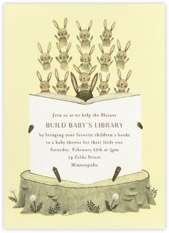 Bunny Bibliophiles - Paperless Post - Woodland Baby Shower Invitations