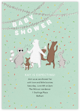 Furfetti - Mint/Silver - Paperless Post - Woodland Baby Shower Invitations