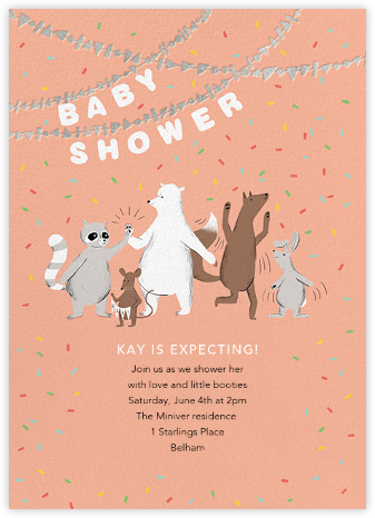 Furfetti - Sherbet/Silver - Paperless Post - Woodland Baby Shower Invitations