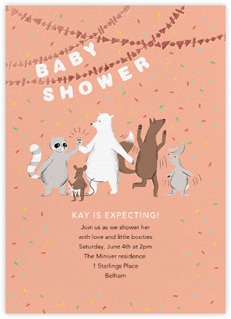 Furfetti - Sherbet/Rose Gold - Paperless Post - Woodland Baby Shower Invitations