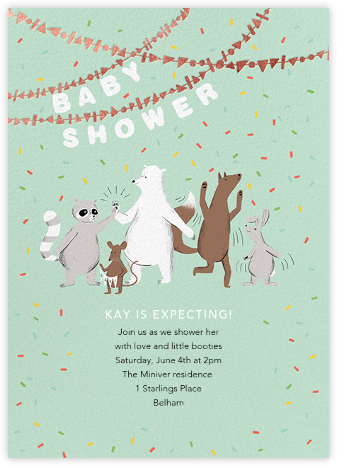 Furfetti - Mint/Rose Gold - Paperless Post - Woodland Baby Shower Invitations