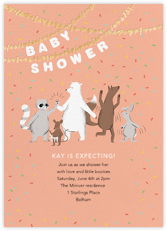 Furfetti - Sherbet/Gold - Paperless Post - Woodland Baby Shower Invitations