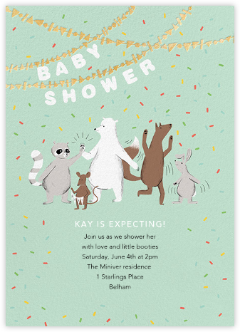 Furfetti - Mint/Gold - Paperless Post - Woodland Baby Shower Invitations
