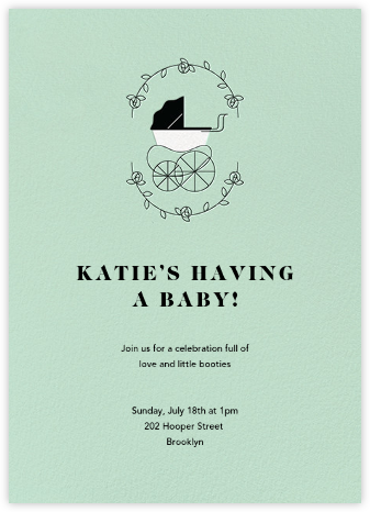 Pram Time - Mint - Paperless Post - Baby Shower Invitations
