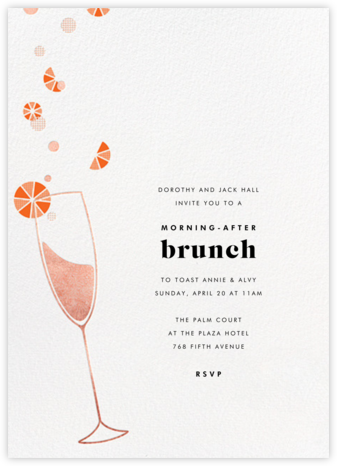 Citrus Fizz - Rose Gold - Paperless Post - Brunch invitations