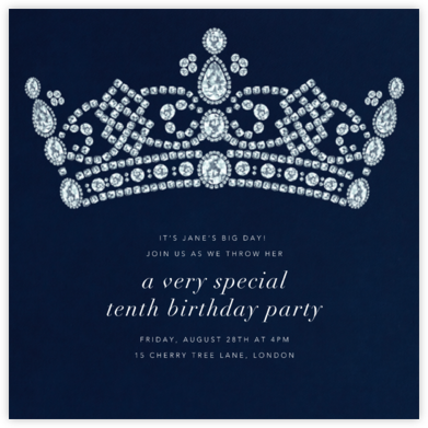 Tiara - Navy - Paperless Post - Online Kids' Birthday Invitations