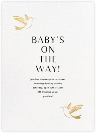 Hummingbirds - Gold - Paperless Post - Baby Shower Invitations