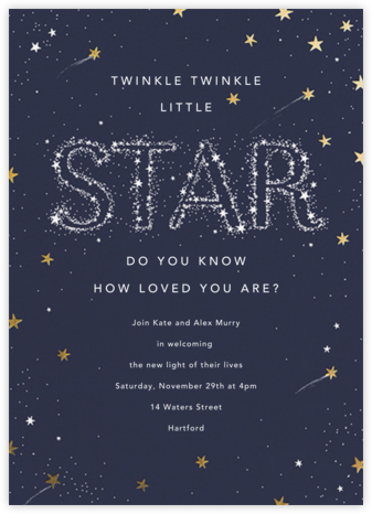 Twinkle Twinkle Little Star - Gold - Paperless Post - Baby Shower Invitations