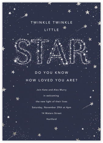 Twinkle Twinkle Little Star - Silver - Paperless Post - Sip and see invitations