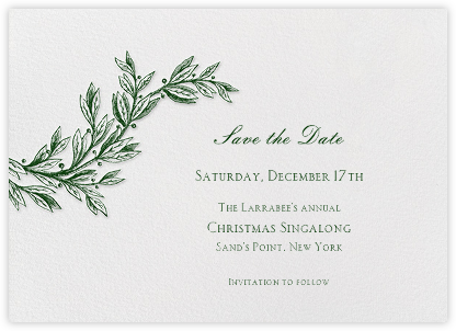 Winter Sprig - Hunter - Paperless Post - Holiday Save the Dates