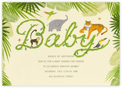 The Vine Print - Paperless Post - Elephant Baby Shower Invitations