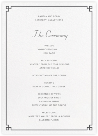 Nixon Border (Program) - Jonathan Adler - Wedding menus and programs - available in paper
