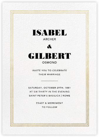 Triple Interior Border (Tall) - Gold - Paperless Post - Modern wedding invitations