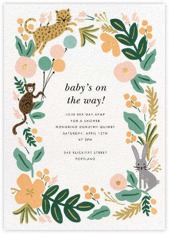 Baby shower invitations online at paperless post festive fauna stopboris Image collections