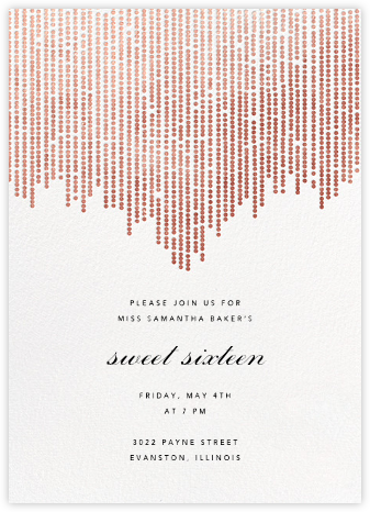 Josephine Baker - White/Rose Gold - Paperless Post - Sweet 16 invitations