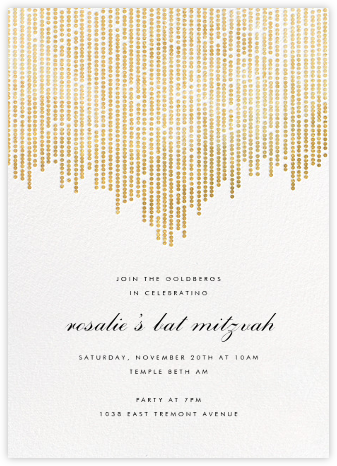 Josephine Baker - White/Gold - Paperless Post - Bat and Bar Mitzvah Invitations