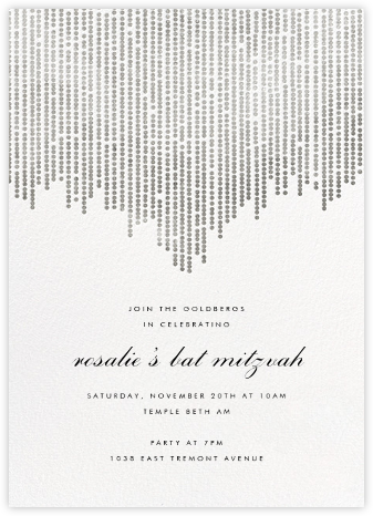 Josephine Baker - White/Silver - Paperless Post - Bar and Bat Mitzvah Invitations