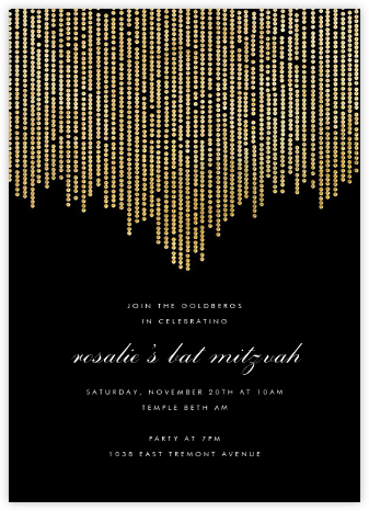 Josephine Baker - Black/Gold - Paperless Post - Bat and Bar Mitzvah Invitations