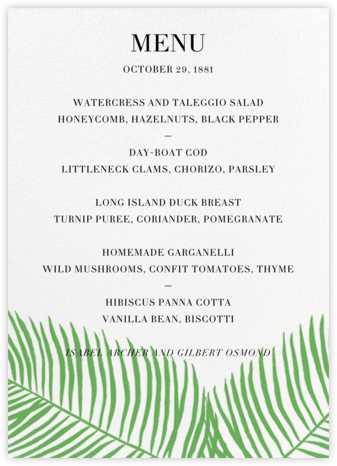 Palmier II (Menu) - Green - Paperless Post - Wedding menus and programs - available in paper
