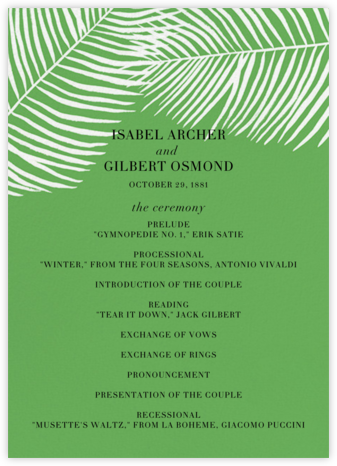 Palmier II (Program) - Green - Paperless Post - Wedding menus and programs - available in paper