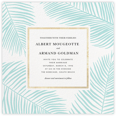 Palmier III (Invitation) - Caribbean/Gold - Paperless Post - Wedding Invitations