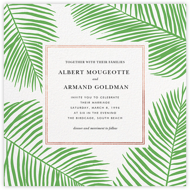 Palmier III (Invitation) - Green/Rose Gold - Paperless Post - Destination wedding invitations
