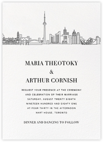 Toronto Skyline View (Invitation) - White/Black | null